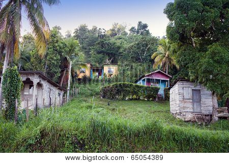 Huts along the road . Jamaica .