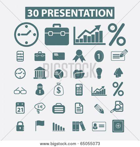 30 business, marketing, adverisment presentation icons set, vector