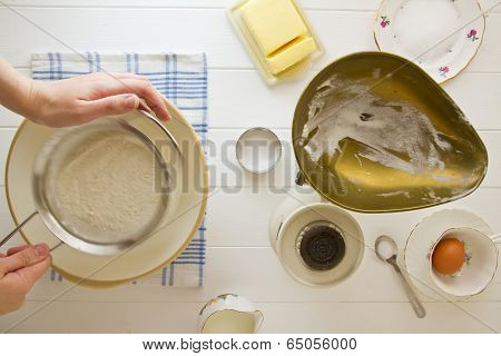 English Scones Ingredients, Sifting Flour
