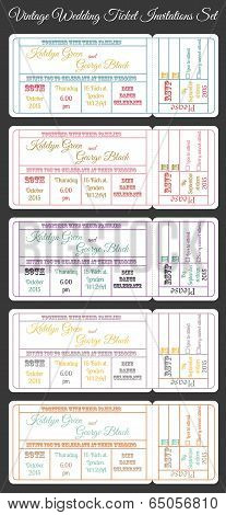 vintage wedding ticket invitations set