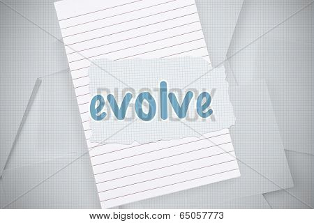 The word evolve against digitally generated grid paper strewn