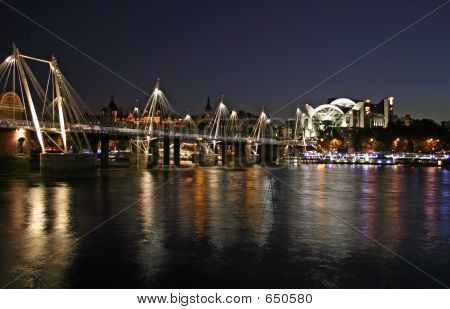 Thames Rail Bridge At Night
