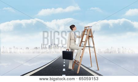 Businesswoman climbing career ladder with briefcase against open road background