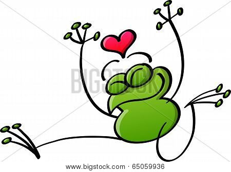 Green love jumping while fully in love