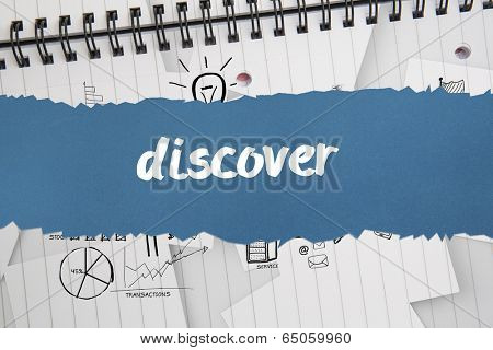 The word discover against brainstorm doodles on notepad paper