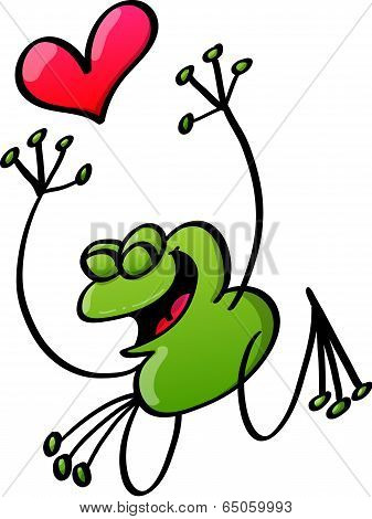 Happy green frog in love