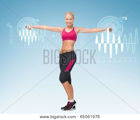 fitness, sport and dieting concept - young sporty woman with light dumbbells