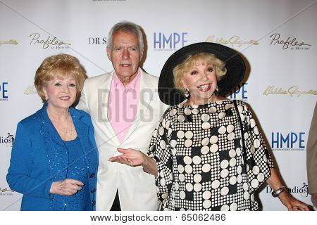 LOS ANGELES - MAY 14:  Debbie Reynolds, Alex Trebek, Ruta Lee at the
