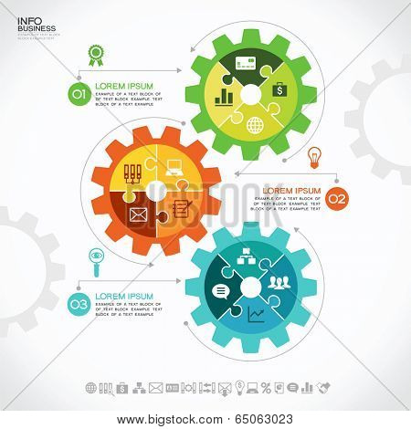 Infographic design template with gear, puzzles and icons, Modern design background. Business concept.
