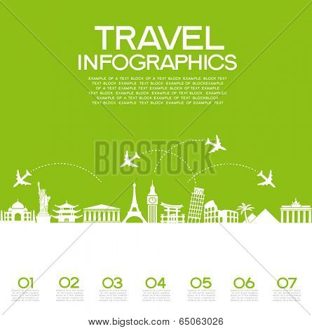 Infographics elements: Travel and Famous Landmarks.