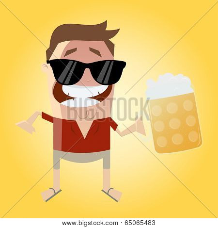 relaxed man with beer