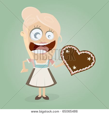 happy girl with gingerbread heart