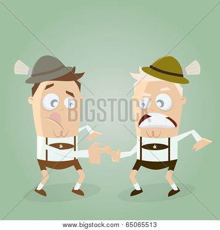 men in lederhosen doing bavarian sports fingerhakeln