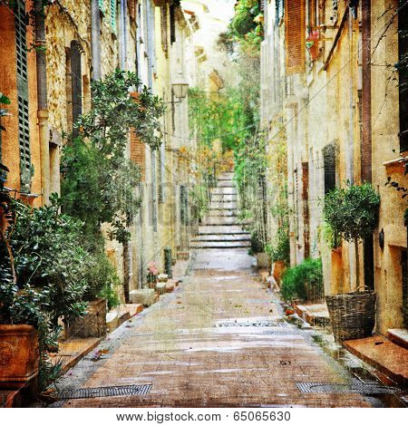 charming streets of mediterranean, artistic picture