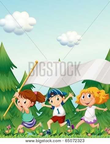 Illustration of the kids running with an empty banner