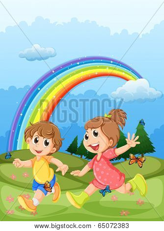 Illustration of the kids playing at the hilltop with a rainbow in the sky
