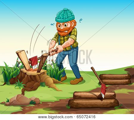 Illustration of a lumberjack chopping woods