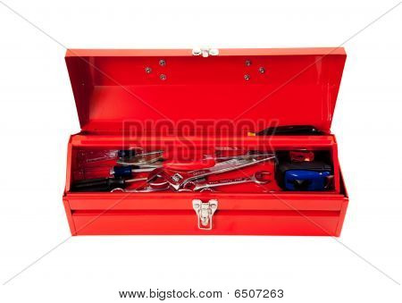 Red Metal Tool Box With Tools On White