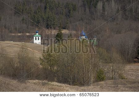 Russian landscape with churches
