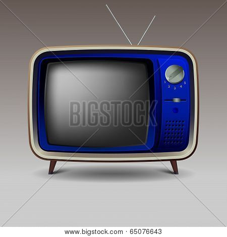 Old blue retro television