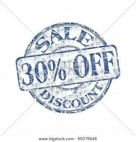 Thirty percent off rubber stamp