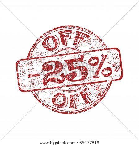 Twenty five percent off stamp