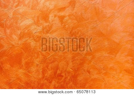 Orange Grungy Cement Texture On The Wall In Abstact