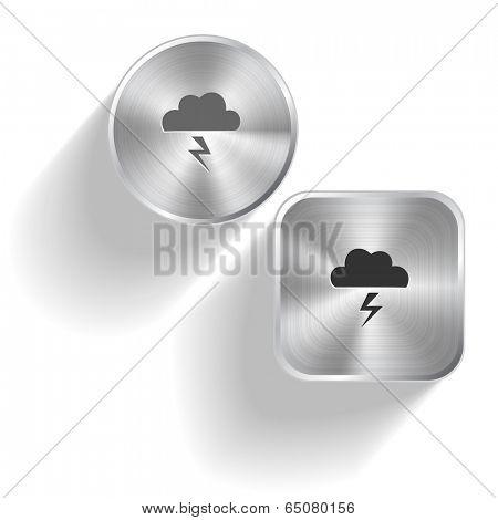 Storm. Vector set steel buttons