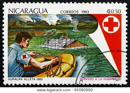 Postage Stamp Nicaragua 1983 Red Cross Flood Rescue