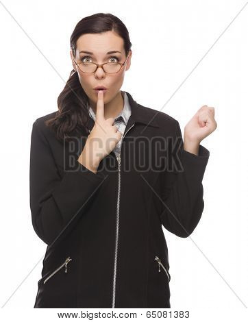 Unsure Mixed Race Businesswoman Puts Finger on Her Lips Isolated on White Background