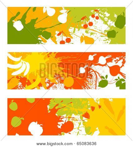 abstract fruit and vegetable banners