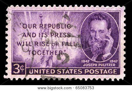 Joseph Pulitzer Us Postage Stamp