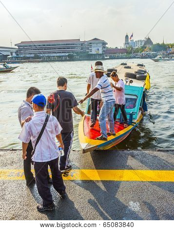 Man Lands His Ferry And Takes New Passenger On Board At The Ferry