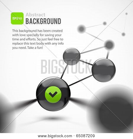 Abstract vector background. Black glossy spheres