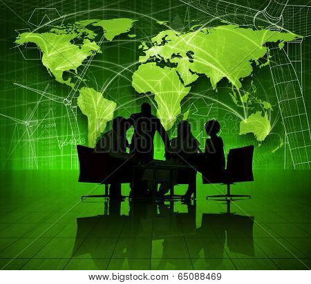 Group of Business People on Green World Economic