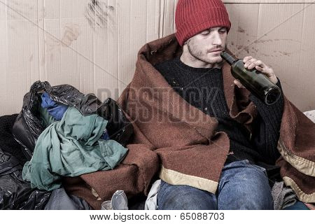 Homeless Drinking Cheap Wine