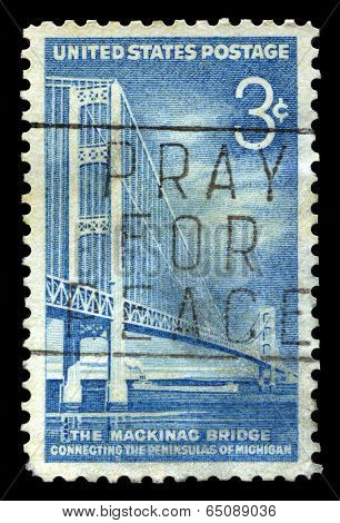 Mackinac Bridge Us Postage Stamp