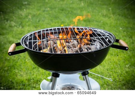 Grill on the garden, close-up.