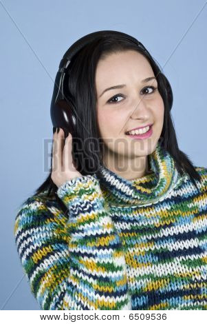 Smiling Female Listening Music