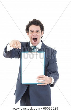 Angry  Pissed Off Man Holding Up A Banner Or Notes Against A White Background