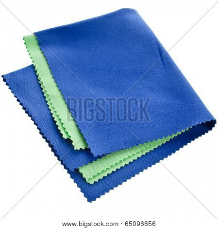 Collection set of soft cleaning cloth for optics isolated on white background