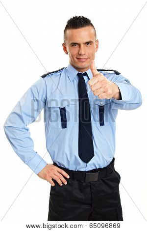 Policeman shows you finger up