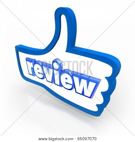 Review word on a blue thumbs up symbol positive rating