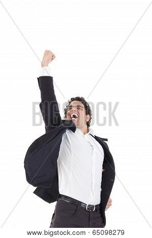 Young Happy Businessman Jumps In Black Suit On White