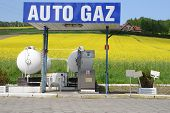 image of hydrogen  - gas auto station located among flowering fields - JPG