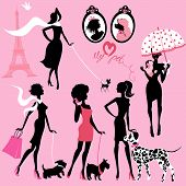 image of dachshund  - Set of black silhouettes of fashionable girls with their pets  - JPG