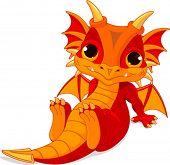 foto of dragon  - Cute cartoon baby dragon - JPG