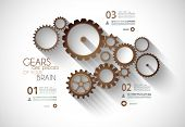 image of generic  - Infographic timeline with Gear mechanic concept for product or generic items classification - JPG