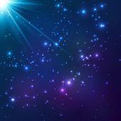 stock photo of cosmic  - Magic blue cosmic shining light vector background - JPG