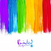 stock photo of liquid  - Acrylic rainbow colors painted stripes - JPG